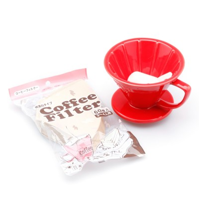 Bộ ly sứ lọc cà phê và túi lọc giấy AnniCoffee (Đỏ)