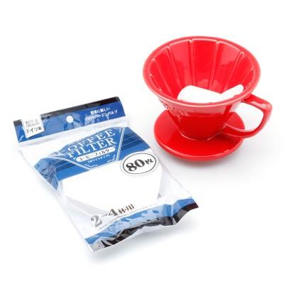 Bộ ly lọc cà phê và giấy lọc - (đỏ, kraft)