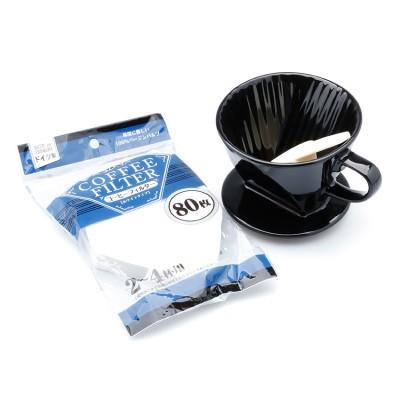 Bộ ly lọc cà phê và giấy lọc (đen, trắng)