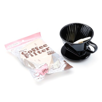 Bộ ly sứ và giấy lọc cà phê (đen, kraft)