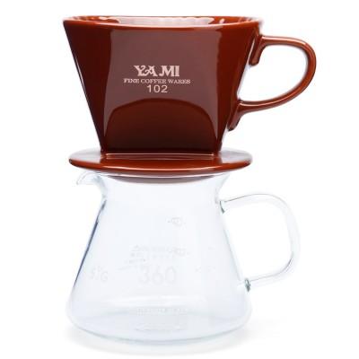 Bộ ly sứ và bình đựng cà phê (nâu)