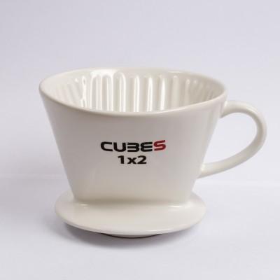Phin sứ lọc cà phê trắng Cubes 1X2