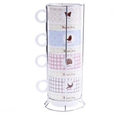 Bộ ly sứ uống cafe và khung ly (color)
