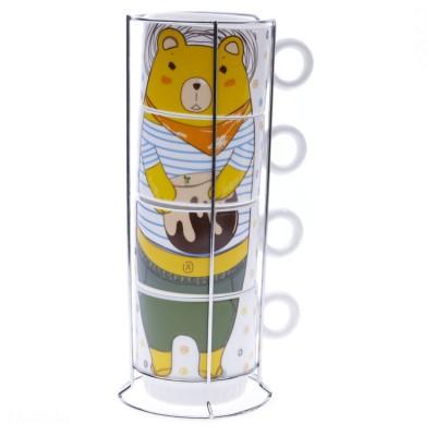 Bộ ly sứ uống cafe và khung ly (gấu)