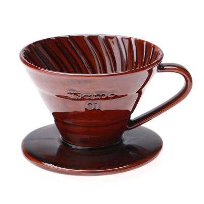 Ly sứ lọc cà phê - V01 Tiamo (nâu đen, sọc)
