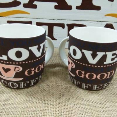 Bộ 2 ly sứ love coffee màu nâu