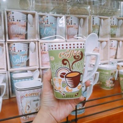 Ly sứ coffee màu xanh lá