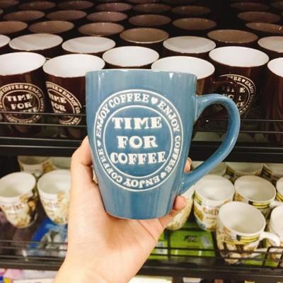 Ly sứ Time For Coffee xanh dương