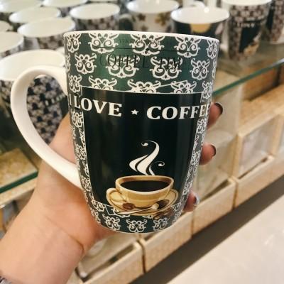 Ly sứ love coffee xanh lá