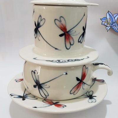 Phin gốm sứ chuồn chuồn đen