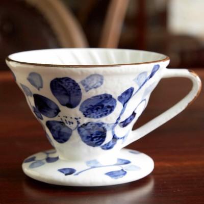 Phin sứ lọc cà phê hoa văn xanh