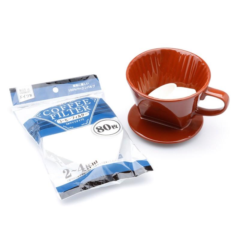 Bộ ly sứ và giấy lọc cà phê (nâu,trắng)