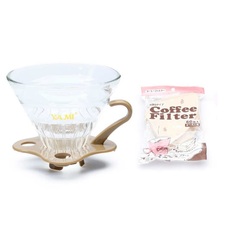 Bộ ly thủy tinh và giấy lọc cà phê (kraft)