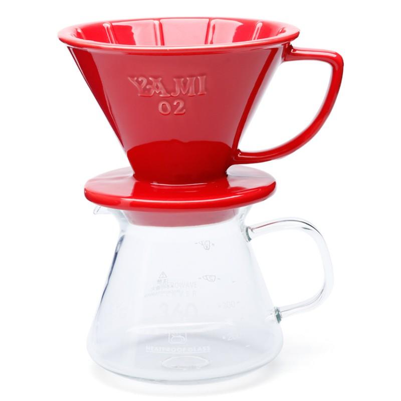 Bộ ly sứ và bình đựng cà phê ( đỏ)