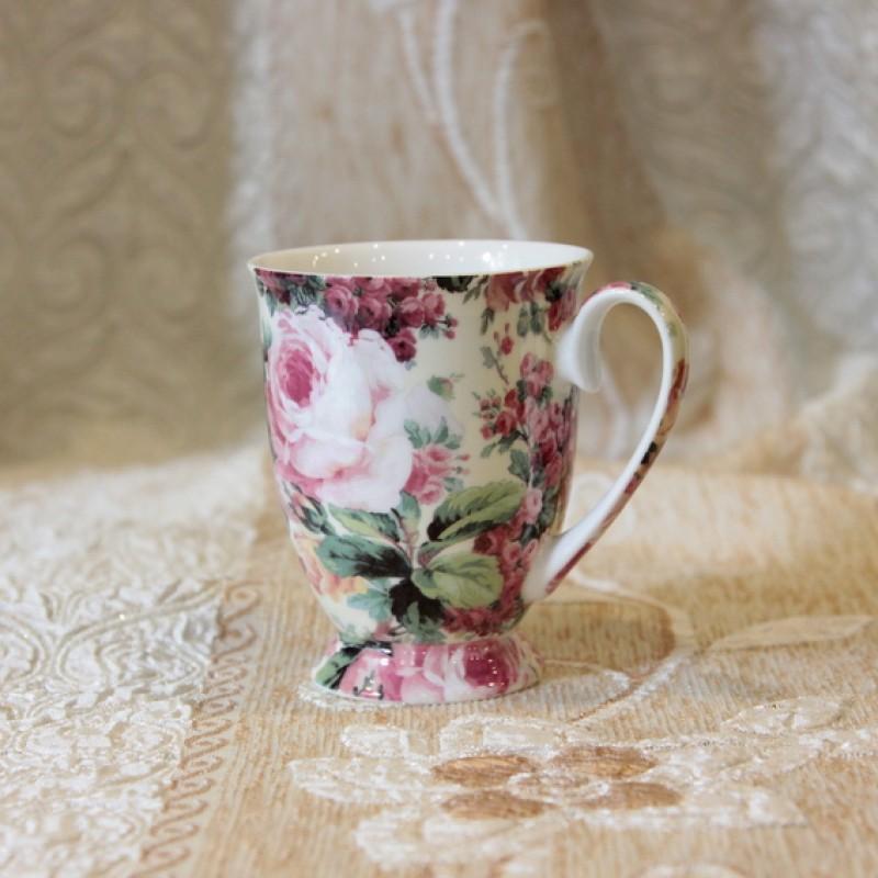 Ly sứ uống trà và cà phê hoa mẫu đơn
