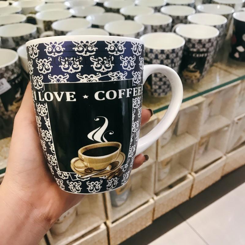 Ly sứ love coffee xanh dương