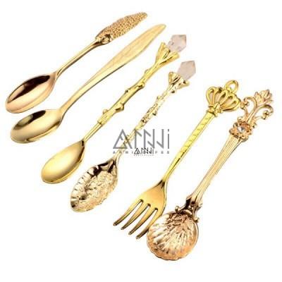 bộ 6 muỗng nĩa hoàng gia vàng